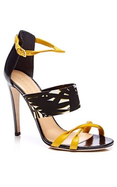 SERGIO ROSSI Donyale Printed Satin and Leather Sandals ~ Cynthia Reccord