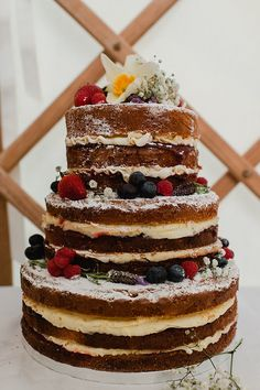 Naked Sponge Layer Cake Icing Berries Flowers Colourful Outdoor Woodland DIY Yurt Wedding http://alexa-loy.com/