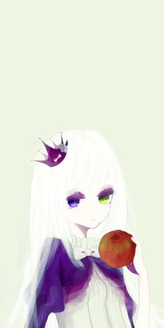 anime girl with crown and apple