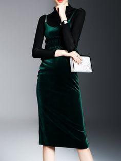#AdoreWe StyleWe Midi Dresses - LONYUASH Green Spaghetti Velvet Casual Two Piece Midi Dress - AdoreWe.com