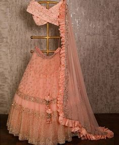 dress Indian party wear - Peach net lehenga choli dupatta party wear wedding wear indian dress custom stitched made to order dress for women's. Indian Gowns Dresses, Indian Fashion Dresses, Indian Designer Outfits, Designer Dresses, Pakistani Dresses, Fashion Outfits, Lehenga Choli Designs, Bridal Lehenga Choli, Net Lehenga