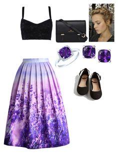 """Lavender Pleated Midi Skirt"" by mmmorrison ❤ liked on Polyvore"