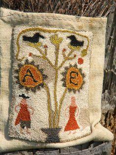 Punch Needle Pattern - Colonial Adam & Eve - from Notforgotten Farm. $8.00, via Etsy.