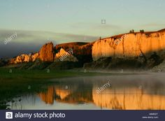Golden Hour Of Sunrise On The Missouri River At Labarge Rock Stock ...