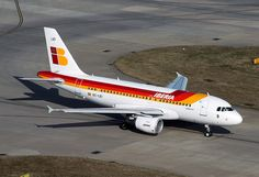 """Iberia Airbus 319-111 EC-LEI """"Visón Europeo"""" at London-Heathrow, March 2015. (Photo via Flickr: Andrew Pope) Commercial Aircraft, Civil Aviation, Airplane, Planes, Engine, Plane, Airplanes, Aircraft, Motor Engine"""