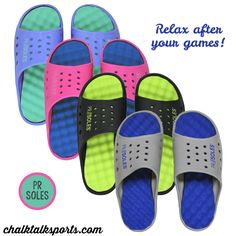 Give your feet a break after your games and practices with these extra comfortable PR Soles! They are lightweight, breathable, and waterproof, and come in four great color combos. Perfect for all summer long! Pick your favorite pair at ChalkTalkSPORTS.com!