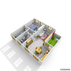 Illustrazione stock 624408731 a tema Interior Rendering Furnished Home Apartment Interior Rendering, 3 D, Stock Photos, Home, Houses, Ad Home, Homes, Haus