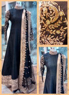 Blithe Dark Blue Raw Silk Anarkali Suit