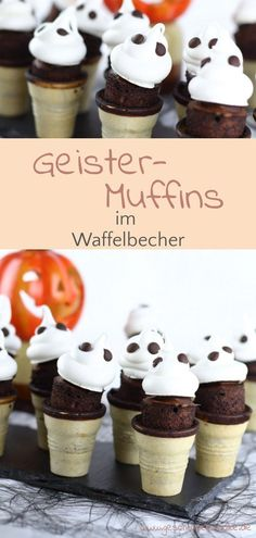 Halloween Recipe - Failed Ghost Muffins in Waffle Cup - Halloween Cakes, Happy Halloween, Food Fails, Good Food, Yummy Food, Sweet Bakery, Cupcakes, Fabulous Foods, Easy Peasy