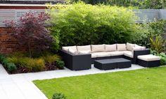 outdoor sofa, modern garden, garden design cheshire