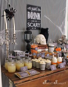 Amazing Halloween party dessert table!  See more party planning ideas at CatchMyParty.com!