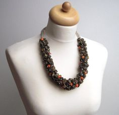 Raw Stone Statement  Necklace OOAK Earthy Brown by DreamsFactory, $185.00