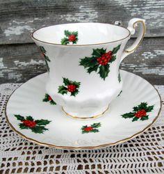 Christmas teacups | Vintage Teacup Tea Cup and Saucer Christmas Holly Berry Hand Painted ...
