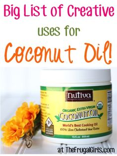 BIG List of Creative Uses for Coconut Oil!  SO many fabulous tips and healthy tricks! | TheFrugalGirls.com