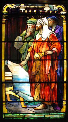 Detail of Tiffany Window, facing west by WayNet.org, via Flickr Scribes/Pharasees in Reid Memorial Presbyterian Church, Richmond, IN