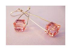 Playful Swinging Cube Earrings. $40.00, via Etsy.