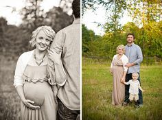 rustic maternity pictures field - with the family/husband