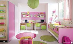 Bedroom for a child's colorful and beautiful - bedroom pink green decorating