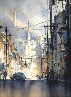 Filbert Street - San Francisco by Thomas W. Schaller Watercolor ~ 24 x 18 inches