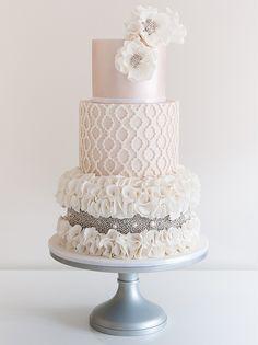 ♔ Beaded & Ruffle Wedding Cake