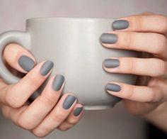 Matte gray nails.