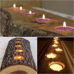 DIY candle in wood. Diy Candles, Tea Lights, Diy Gifts, Hand Made Gifts, Handmade Gifts, Diy Presents, Homemade Gifts