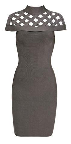 Jada Gray High Neck Bandage Dress