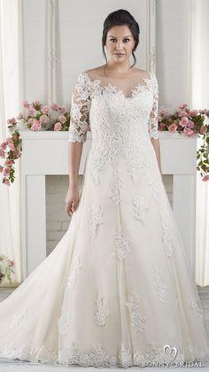 bonny bridal 2017 half sleeves sweetheart neckline heavily embellished bodice plus size drop waist modified a  line wedding dress chapel train (1618) mv -- Bonny Bridal Wedding Dresses