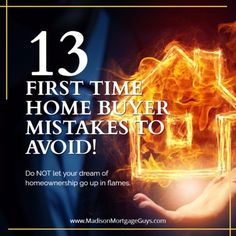 13 First Time Home Buyer Mistakes To Avoid https://www.madisonmortgageguys.com/facts-myths-pitfalls/ #RealEstate #MortgageUpdated via @MadisonMortgage