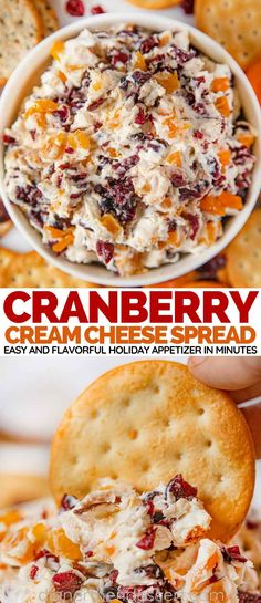 Cranberry Cream Cheese Spread is an easy flavorful holiday appetizer with c Cranberry Cream Cheese Spread is an easy flavorful holiday appetizer with cream cheese cranberries apricots and orange zest Appetizer Dips, Yummy Appetizers, Appetizers With Cream Cheese, Easy Christmas Appetizers, Recipes With Cream Cheese, Cranberry Cream Cheese Dip, Flavored Cream Cheeses, Dinner Party Appetizers, Cream Cheese Dips