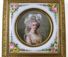 A marvelous 19th century French gilt bronze jewelry box housing not only a beautiful miniature portrait hand painted on ivory but a hand painted porcelain plaque of Sevres quality as well. Such a superb example of these fine old portrait boxes.