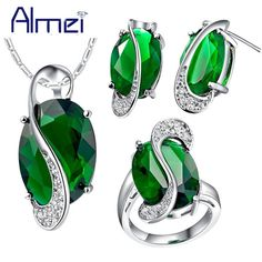 Check current price Almei 35%Off Fashion Blue Crystal Jewerly Sets for Women Silver Color Wedding Accessories Necklace Set Earrings Green Rings T155 just only $7.93 with free shipping worldwide  #weddingengagementjewelry Plese click on picture to see our special price for you