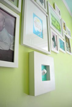 Nursery Art Idea: baby's hospital bracelet and/or footprint on colorful paper.