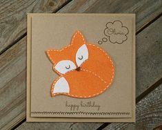 Personalized felted fox birthday card- hand made / Fox Birthday Card, Fox lover gift, felt fox, sleeping fox, fox art, birthday card, animal