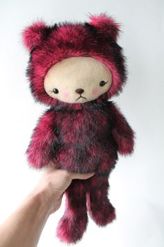 Kawaii Teddy Bear Plushie PInk and Black TISSAVEL Fur Large LOLA