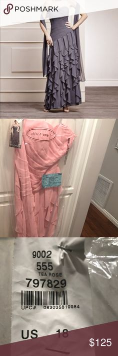 Alfred Angelo Dress Alfred Angelo Chiffon Gown Floor length with optional straps  Tea Rose  Size 18 New With Tags Alfred Angelo Dresses Strapless