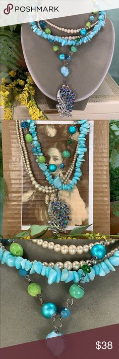 Teal Jewelry, Peacock Jewelry, Turquoise Necklace, Vintage Pearls, Vintage Brooches, Vintage Jewelry, Vintage Box, Multi Strand Necklace, Pearl Beads