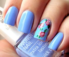 pretty color with flower accent nail