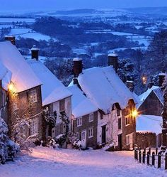 Cottages on Gold Hill in winter snow, Shaftesbury, Dorset, England Dorset England, England And Scotland, Devon England, Lofoten, Gold Hill Shaftesbury, Winter Scenery, Snow Scenes, English Countryside, Dubrovnik