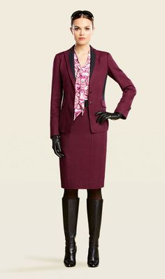 I love Plum! Check out Eggplant. Stretch textured suiting colorblocked two-button blazer with a stretched textured suiting colorblocked belted pencil skirt. Colorblocking is STILL in for the FALL! SCROLL is a lightweight jersey baroque scroll print t-shirt. This separate can be worn with a multitude of bottoms - try it with skinny whites, Brinjal (a plum cardigan) or EGGPLANT ankle length pants!