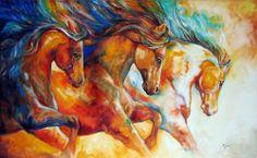 """Wild Trio Run Mustangs"" par Marcia Baldwin"