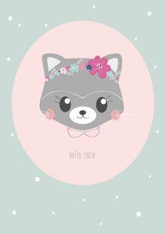 Kaart Poes Hello cutie Lieve ansichtkaart met poes en tekst Hello cutie. Gedrukt met milieubewuste inkt. Ontwerp: Petite Louise.