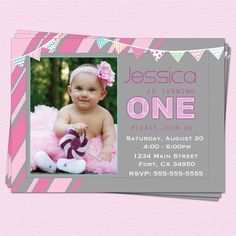 1st Birthday Invitations Girl Modern One Year First Printable Party. $14.00, via Etsy.
