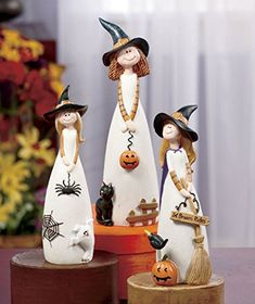 3 pc friendly witch figurine set table top accent fall autumn halloween decoration cat hug mug coaster Halloween Tisch, Table Halloween, Halloween Home Decor, Halloween Crafts, Halloween Decorations, Halloween Witches, Decoration Party, Halloween 2015, Wine Bottle Crafts