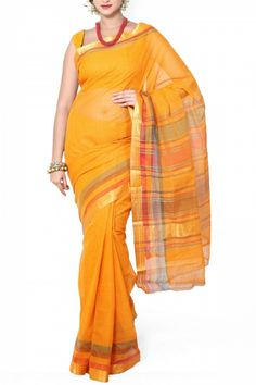 Tangirine Cotton Mangalgiri Saree