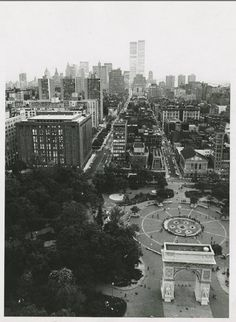 NYC. View from Washington Square looking southwards with World Trade Center in the background, 1970's Scott Pearson Naples, FL