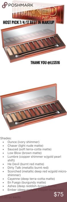 HP UD Naked Heat palette PRICE FIRM NEW IN BOX, SEALED Super pool is just released Urban Decay Naked Heat eyeshadow palette. 12 new can't live without shades in amber hues. These look great on all skin tones. Of course it's high quality ingredients, its Urban Decay! Palette includes a double ended brush. 100% AUTHENTIC. READY TO SHIP NOW. DUE TO PM FEES PRICE IS FIRM. Host pick 7/4/17 Thank you @lls516  Urban Decay Makeup Eyeshadow