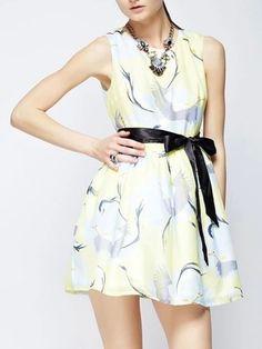 light yellow floral print bow tie skater dress   USTrendy  www.ustrendy,com #ustrendy