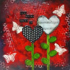Love grows - a mixed media on canvas in size 30 x 30 cm