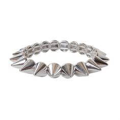 Humble Chic Mini Spike Bracelet (13 CAD) ❤ liked on Polyvore featuring jewelry, bracelets, accessories, pulseiras, bijoux, stud bracelet, spike jewelry, studded jewelry, metal bangles and metal jewelry